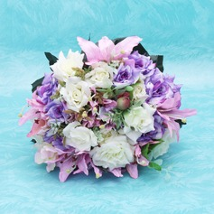 Charming Hand-tied/Round Satin Bridal Bouquets
