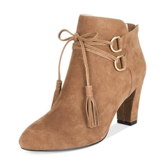 Women's Suede Chunky Heel Boots Ankle Boots With Ribbon Tie shoes