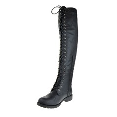 Women's Leatherette Low Heel Boots Knee High Boots With Lace-up shoes