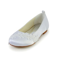 Kids' Satin Flat Heel Closed Toe Flats With Applique