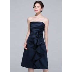 Sheath/Column Strapless Knee-Length Satin Bridesmaid Dress With Flower(s) Cascading Ruffles