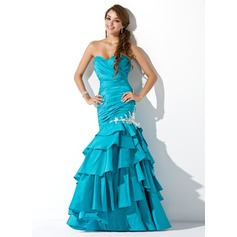 Trumpet/Mermaid Sweetheart Floor-Length Taffeta Prom Dress With Beading Appliques Lace Sequins Cascading Ruffles