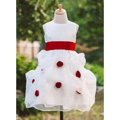 Ball Gown Tea-length Flower Girl Dress - Organza/Satin Sleeveless Scoop Neck With Sash/Flower(s)