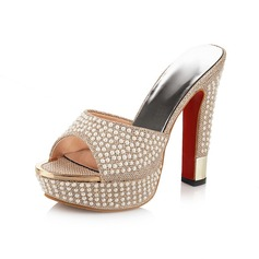 Women's Chunky Heel Pumps Peep Toe Slippers With Imitation Pearl shoes (085102874)