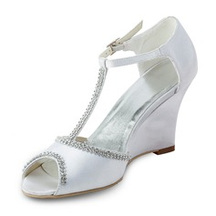 Satin Wedge Heel Peep Toe Wedges Sandals Wedding Shoes With Beading (047011824)