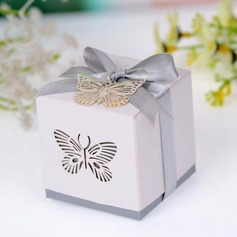 Butterfly Laser-cut Cuboid Favor Boxes With Ribbons (Set of 12)