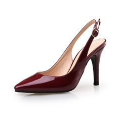 Women's Patent Leather Stiletto Heel Pumps Closed Toe shoes (085094478)