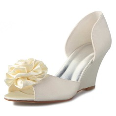 Women's Satin Wedge Heel Peep Toe Pumps Sandals With Satin Flower