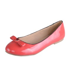 Leatherette Flat Heel Flats With Bowknot