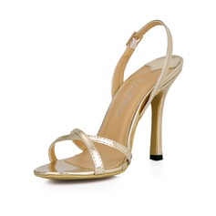 Women's Patent Leather Stiletto Heel Sandals Slingbacks shoes
