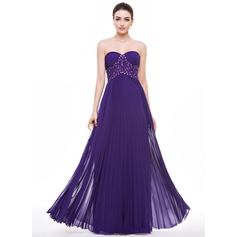 A-Line/Princess Sweetheart Floor-Length Chiffon Prom Dress With Beading Appliques Lace Sequins Pleated