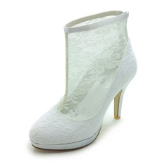 Satin Stiletto Heel Closed Toe Platform Boots Wedding Shoes With Stitching Lace (047017791)