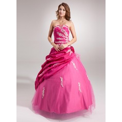 Ball-Gown Sweetheart Floor-Length Taffeta Tulle Quinceanera Dress With Ruffle Beading Appliques Lace Flower(s) Sequins