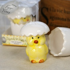 Hatching Chicken Ceramic Salt & Pepper Shakers With Ribbons/Tag