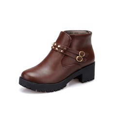Women's Leatherette Low Heel Ankle Boots Martin Boots With Buckle shoes