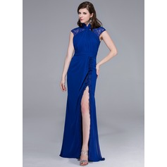 Sheath/Column High Neck Floor-Length Chiffon Lace Evening Dress With Ruffle Split Front
