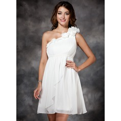 Empire One-Shoulder Short/Mini Chiffon Bridesmaid Dress With Ruffle Flower(s)