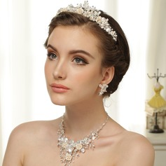 Flower Shaped Pearl/Silver Plated/Zinc Alloy With Rhinestone Ladies' Jewelry Sets