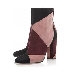 Women's Suede Chunky Heel Closed Toe Boots Ankle Boots Mid-Calf Boots With Split Joint shoes