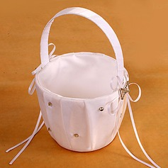 Flower Girl Basket In White Satin With Rhinestones(102018082)