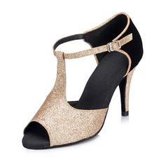 Women's Leatherette Heels Latin With Sequin Dance Shoes