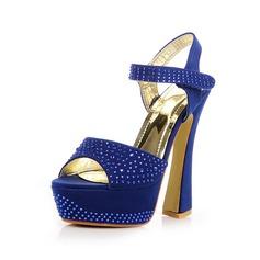 Suede Chunky Heel Sandals Platform Slingbacks With Rhinestone shoes