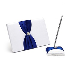 Splendor Satin Rhinestones/Bow Guestbook/Pen Set