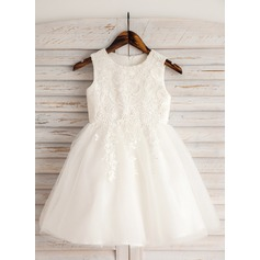 A-Line/Princess Knee-length Flower Girl Dress - Satin/Tulle/Lace/Cotton Sleeveless Scoop Neck With Appliques