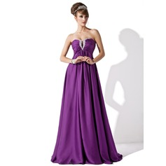 Empire Sweetheart Floor-Length Satin Chiffon Evening Dress With Ruffle Beading