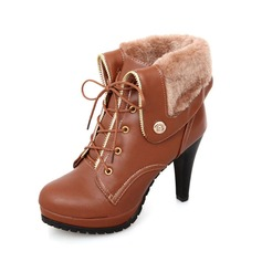 Leatherette Stiletto Heel Platform Ankle Boots With Buckle Lace-up Fur shoes
