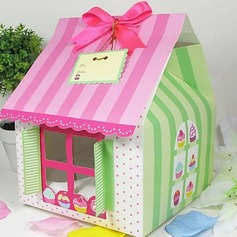 Cute House Shaped Cuboid Cupcake Wrapper and Boxes With Ribbons (Set of 12)