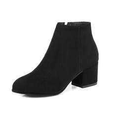 Leatherette Chunky Heel Ankle Boots With Zipper shoes