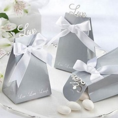 """Love"" Pyramid Favor Boxes With Ribbons (Set of 12)"