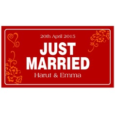 """Personalized """"Just Married"""" Press Board Licence Plate"""