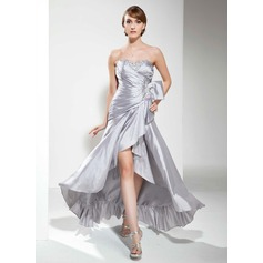 A-Line/Princess Sweetheart Asymmetrical Taffeta Prom Dress With Ruffle Beading Sequins