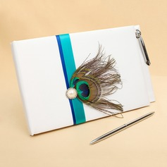 Peacock Feather Faux Pearl/Feather Guestbook