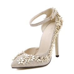 Women's Leatherette Sparkling Glitter Stiletto Heel Pumps Closed Toe With Flower shoes