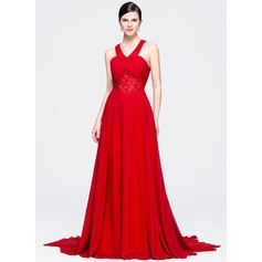 A-Line/Princess V-neck Court Train Chiffon Lace Evening Dress With Ruffle Beading Sequins