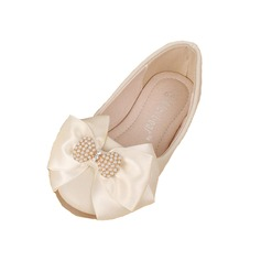 Kids' Real Leather Flat Heel Closed Toe Flats With Bowknot Imitation Pearl