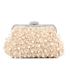 Charming Satin With Imitation Pearl Clutches