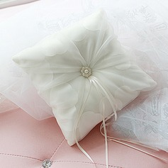 Elegant Ring Pillow in Satin/Organza With Ribbons/Faux Pearl