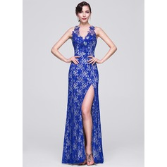 Sheath/Column Scoop Neck Floor-Length Lace Evening Dress With Beading Sequins Split Front