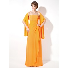 Sheath/Column Strapless Floor-Length Chiffon Bridesmaid Dress With Cascading Ruffles