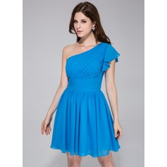 A-Line/Princess One-Shoulder Knee-Length Chiffon Bridesmaid Dress With Cascading Ruffles