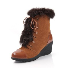 Suede Patent Leather Wedge Heel Ankle Boots With Fur shoes