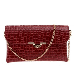 Attractive Patent Leather With Metal Clutches