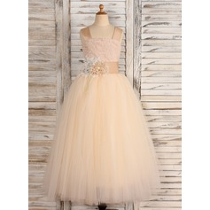 Ball Gown Ankle-length Flower Girl Dress - Tulle/Lace Straps With Flower(s)