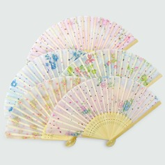 Floral Design Bamboo/Cotton Hand fan (Set of 6)