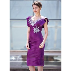 Sheath/Column V-neck Knee-Length Charmeuse Mother of the Bride Dress With Ruffle Beading Sequins Cascading Ruffles
