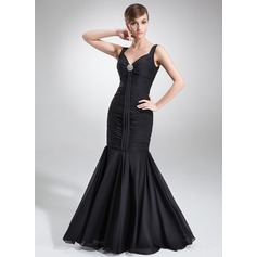 Trumpet/Mermaid V-neck Floor-Length Chiffon Evening Dress With Ruffle Crystal Brooch